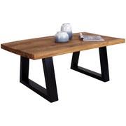 Couchtisch Holz mit massiver Tischplatte Bregenz, Eiche - Eichefarben/Silberfarben, MODERN, Holz/Metall (110/40/60cm)