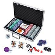 Pokerset mit 300 Pokerchips - Blau/Rot, Papier/Kunststoff