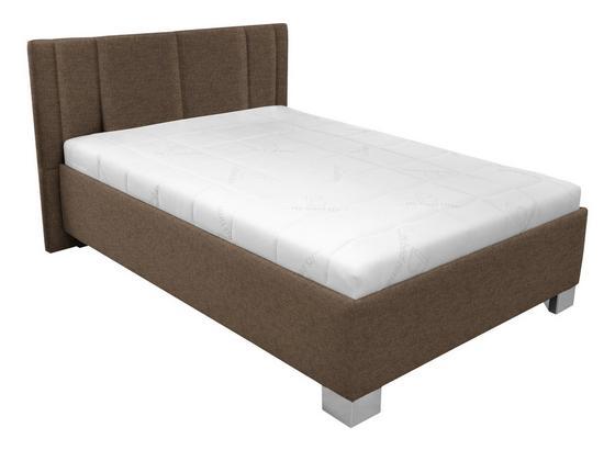 Čalouněná Postel Stilo 120x200 - bílá/hnědá, dřevo/textil (214/120/97cm)