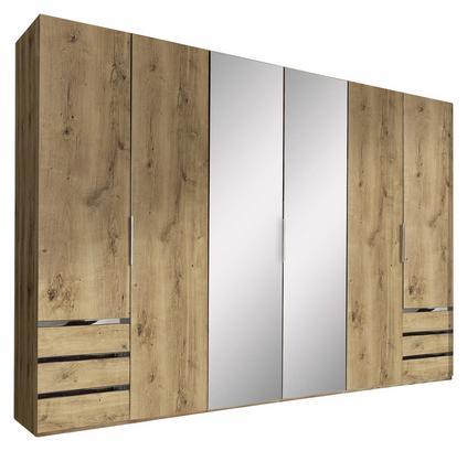 Sechstüriger Schrank in Eiche Dekor mit Schubladen und Spiegel
