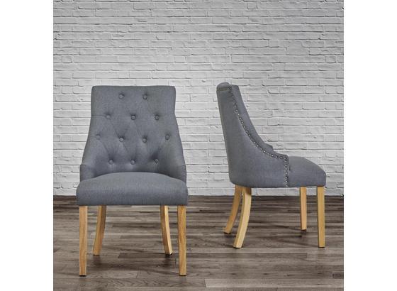 Stolička Mila - farby dubu/sivá, Moderný, drevo/textil (56,5/93,5/63cm) - Modern Living