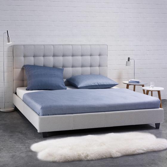 Posteľ Mike - svetlosivá, Moderný, drevo/textil (218/188/115cm) - Mömax modern living