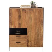 Highboard Echtholz Massiv B 113cm Kuba, Akazie - Anthrazit/Grau, Basics, Holz/Holzwerkstoff (113cm)