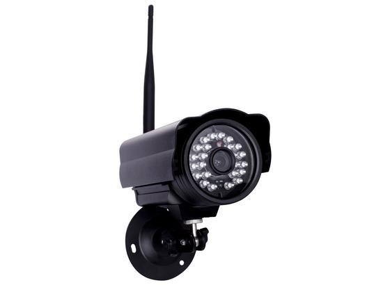 Überwachungskamera Innen/ Außen Wlan mit Microsd Karte - Schwarz, MODERN, Metall (8,2/8/15,5cm)