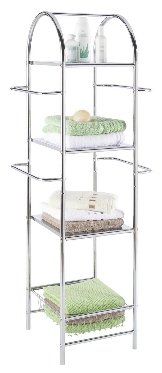 Fürdőszoba Polc Több Célra - krómszínű, modern, fém (54,5/132/36,5cm) - HOMEZONE