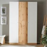 Drehtürenschrank 136,7cm Unit, Weiß/Eiche Dekor - Eichefarben, MODERN, Holzwerkstoff (136,7/210/58,3cm) - Ombra