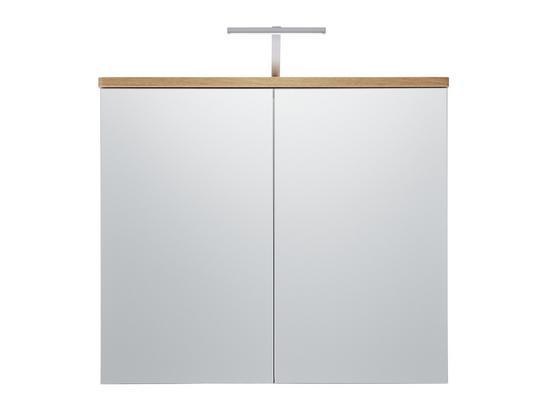 Skrinka So Zrkadlom Malibu - farby dubu/biela, Moderný, kompozitné drevo/sklo (80/70/16cm)