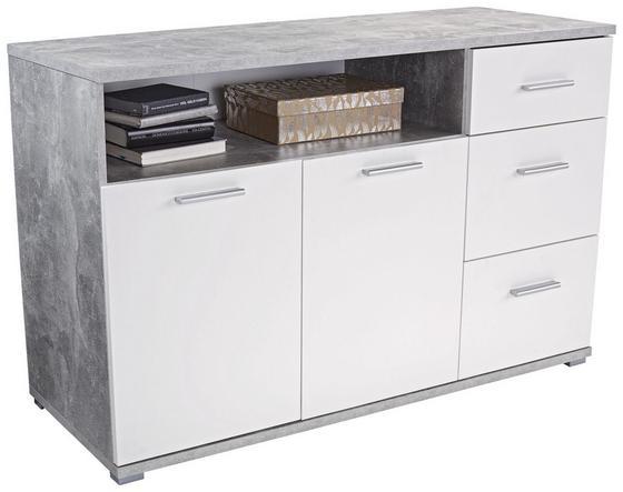 Komoda Roma1, 3 Laden, 2 Tüen - sivohnedá/biela, Moderný, kompozitné drevo (138/80/45cm)