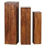Blumentischset 3-Er Set Sheesham Massiv - Sheeshamfarben, Design, Holz (24,5/85/24,5cm) - Livetastic