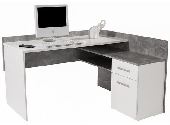 Písací Stôl Moni - sivá/biela, Moderný, kompozitné drevo (140,6/81,3/123,6cm)