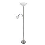 Stehleuchte Erol - Weiß/Nickelfarben, KONVENTIONELL, Glas/Metall (30/178cm) - James Wood