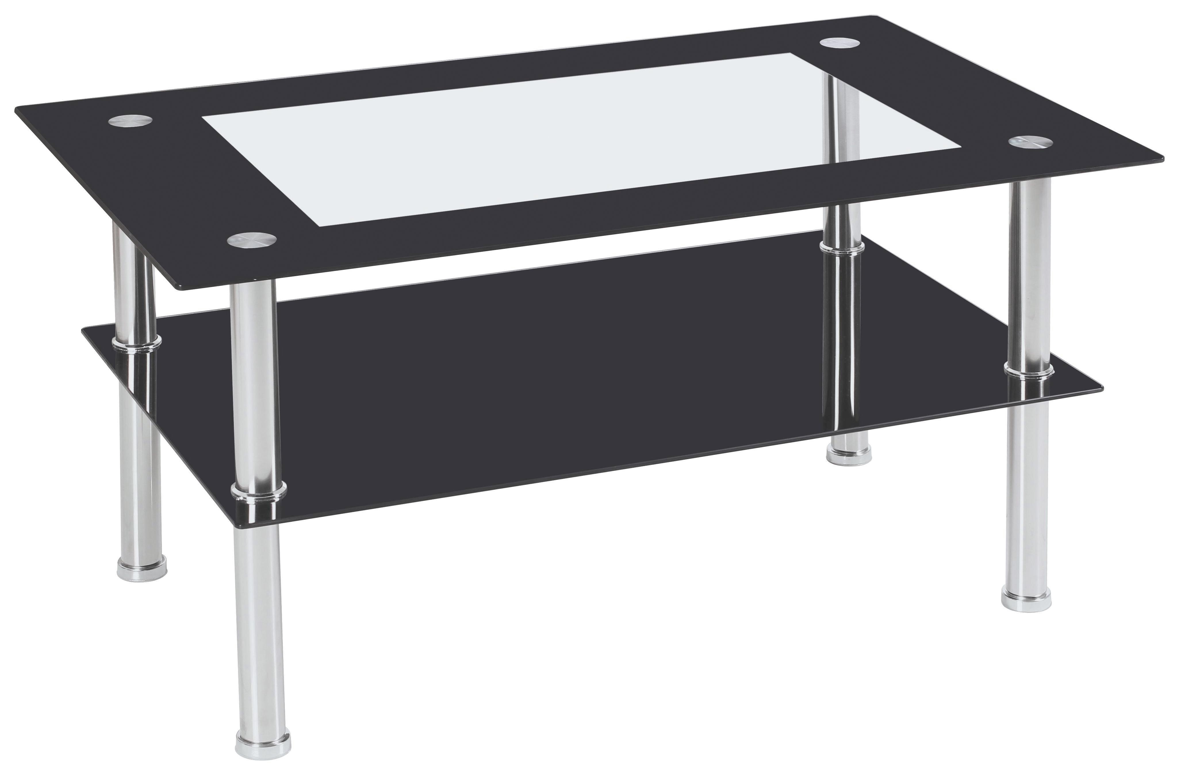 Dohányzóasztal Star - fekete, modern, üveg/fém (90/45/55cm)