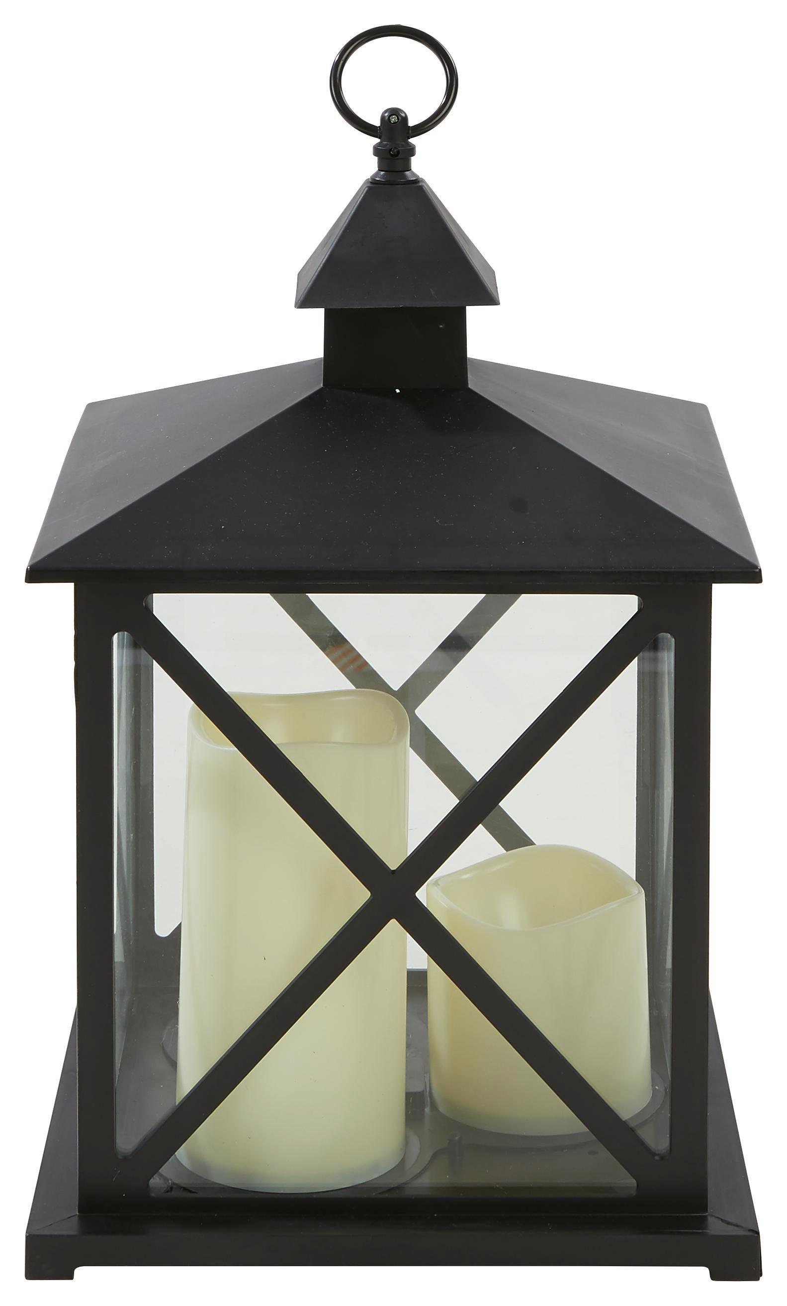 Laterne Kevin - inkl. LED Kerze - Schwarz, KONVENTIONELL, Glas/Kunststoff (23/23/38,5cm) - OMBRA