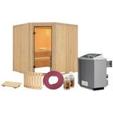 Sauna Nizza mit Interner Steuerung Am Ofen - Naturfarben, MODERN, Holz (196/198/196cm) - KARIBU