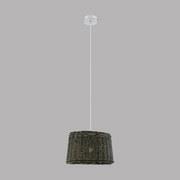 Hängeleuchte Dovenby H: 110 cm 1-Flammig, Geflochtener Schirm - Braun/Weiß, MODERN, Holz/Metall (35/110cm)