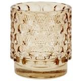 Teelichthalter Callum - Gelb/Braun, Trend, Glas (7/8cm) - Luca Bessoni