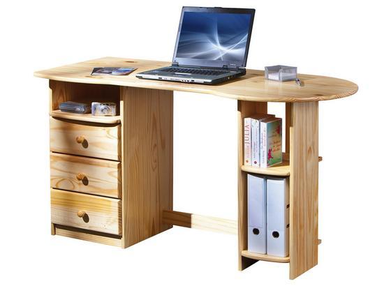 Schreibtisch Touchround B. 137 cm Kiefer - Naturfarben, Basics, Holz (137/76/61cm)