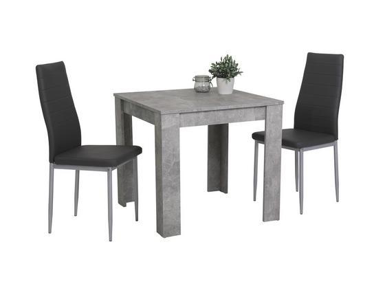 Stolová Súprava Duo G - sivá, Moderný, kov/kompozitné drevo (80/74/80cm)