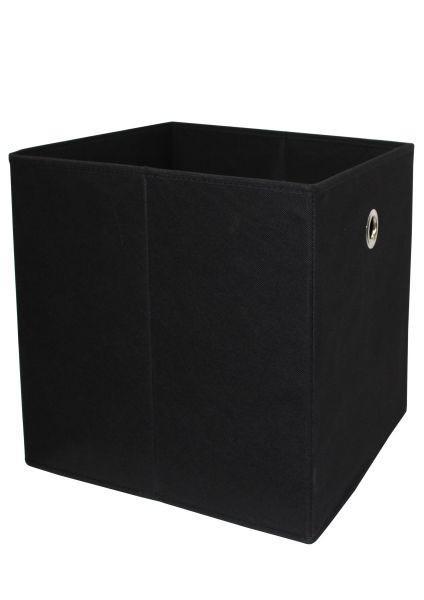 Összecsukható Doboz Cubi - fekete, modern, textil/faanyagok (32/32/32cm)