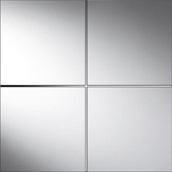 Tükörcsempe Szett Quattro - Ezüst, konvencionális, Üveg (30/30cm)