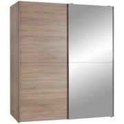 Schwebetürenschrank mit Spiegel 170cm Starter, Eiche Dekor - Eichefarben, Design, Glas/Holzwerkstoff (170/195/59cm) - P & B