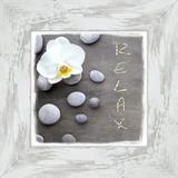 Bild Relax With Stones - Weiß/Grau, MODERN, Holzwerkstoff (44/44/1,7cm)