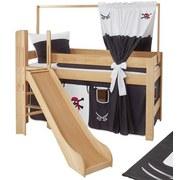 Spielbett Leo 90x200 cm Buche Massiv - Rot/Schwarz, Design, Holz/Textil (90/200cm) - MID.YOU