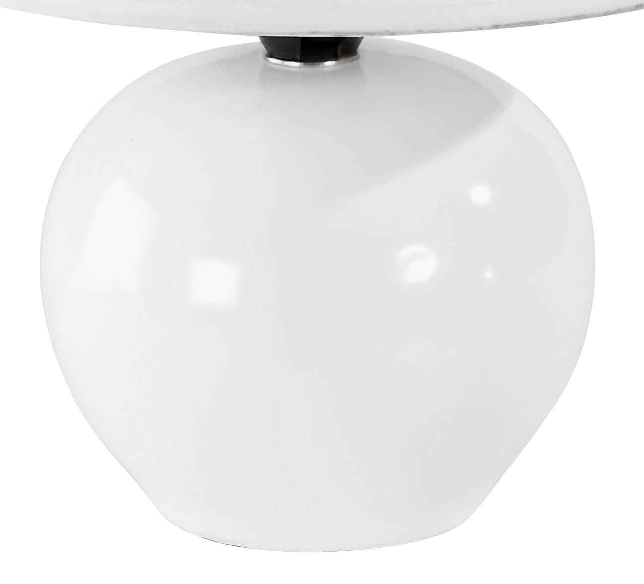 Tischlampe Cindy Cremefarben mit Kugel-Keramikfuß - Detailansicht Fuß, Kugel, Keramik, Weiß