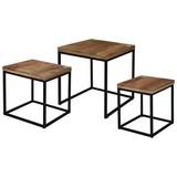 Couchtisch Holz massiv  3er Set Industrial, Mangoholz - Schwarz/Braun, MODERN, Metall (40/40/44cm)