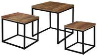 Couchtisch Industrial 3er Set - Schwarz/Braun, MODERN, Holz/Metall (40/40/44cm)