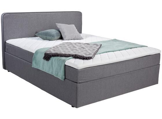 Boxbett mit Matratze & Topper 180x200cm Carrol, Grau - Blau/Schwarz, KONVENTIONELL, Holz/Textil (180/200cm)