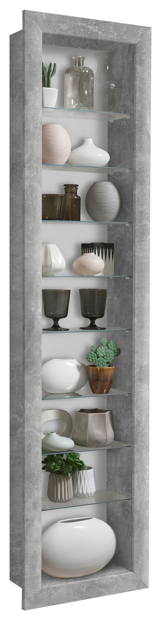 Falivitrin Bora 9 - fehér/szürke, modern, üveg/fa (42/168,5/17cm)