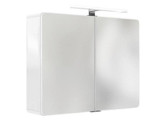 Spiegelschrank Faro B: 80 cm Weiß - Weiß, Basics, Glas/Holzwerkstoff (80/64/20cm) - Livetastic