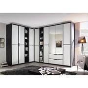 Eckschrank mit Spiegel + Laden 224x314cm Essensa, Weiß - Anthrazit/Weiß, Design, Holzwerkstoff (224/314cm) - Livetastic