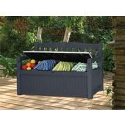 Gartenbank Kunststoff 2-Sitzer Eden mit Stauraum - Hellgrau/Graphitfarben, Basics, Kunststoff (140/84/60cm)