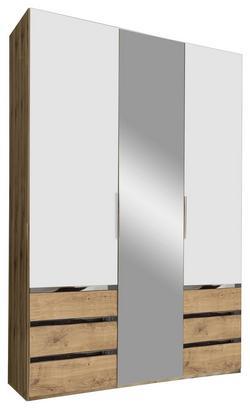 Dreitüriger Kleiderschrank in Weiß und Eiche Dekor mit Spiegel