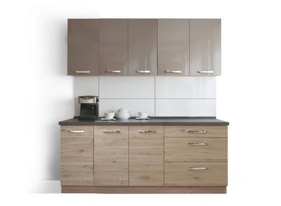 Kuchynská Linka Emma 200 - farby dubu/béžová, Moderný, kompozitné drevo (200cm)