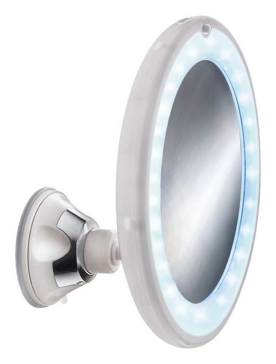 Kosmetikspiegel Flexy Light Mirror - Weiß, MODERN, Glas/Kunststoff (17,5  cm) - Kleine Wolke