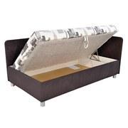 Polsterbett mit Matratze 110x200cm Sorbona, Grau/ Weiß - Silberfarben/Schwarz, KONVENTIONELL, Textil (110/200cm)