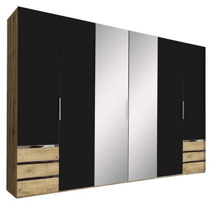Sechstüriger Schrank in Graphit und Eiche Dekor mit Schubladen und Spiegel