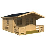 Gartenhaus mit Terasse und Zaun Natur 360x245x360cm - Naturfarben, MODERN, Holz (360/245/360cm)