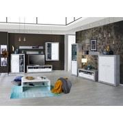 Wohnkombination Malta 6 - Weiß/Grau, MODERN, Glas/Holzwerkstoff (329/197/42cm)