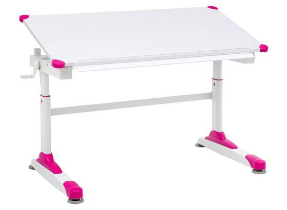 Jugendschreibtisch B: 119 Weiß/ Rosa - Weiß/Rosa, Basics, Holzwerkstoff/Metall (119/62/67cm) - MID.YOU