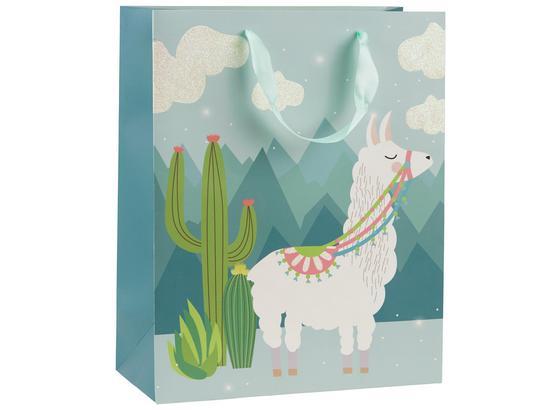 Geschenktasche Lama - Blau/Rosa, Design, Karton (18/23/10cm)