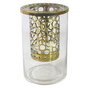 Teelichthalter Osana - Klar/Goldfarben, LIFESTYLE, Glas/Metall (10/16cm) - Luca Bessoni