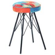 Hocker Kira - Multicolor/Schwarz, MODERN, Textil/Metall (30/51/30cm)