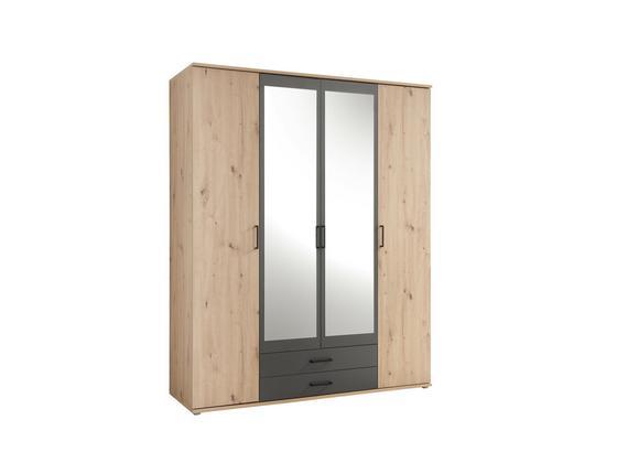 Kleiderschrank Chicago B: 159,6cm Eiche Dekor - Eichefarben/Anthrazit, Basics, Glas/Holzwerkstoff (159,3/196,3/53,5cm) - Livetastic