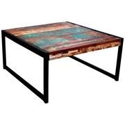 Couchtisch Faro B: 70 cm Recyclingholz - Multicolor/Schwarz, Basics, Holz/Metall (70/35/70cm)