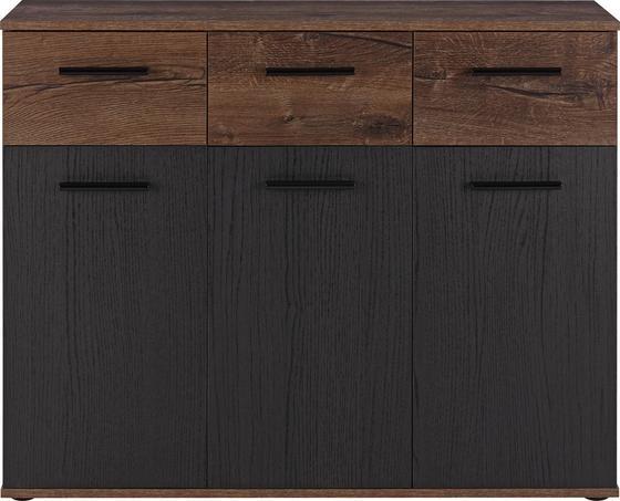 Komoda Sideboard Tokio - barvy dubu/černá, Moderní, kov/dřevěný materiál (104,6/82,8/34,9cm)