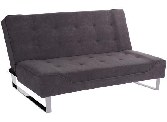 Schlafsofa Livorno B: 190 cm Grau - Edelstahlfarben/Grau, MODERN, Textil/Metall (190/87/88cm) - Luca Bessoni